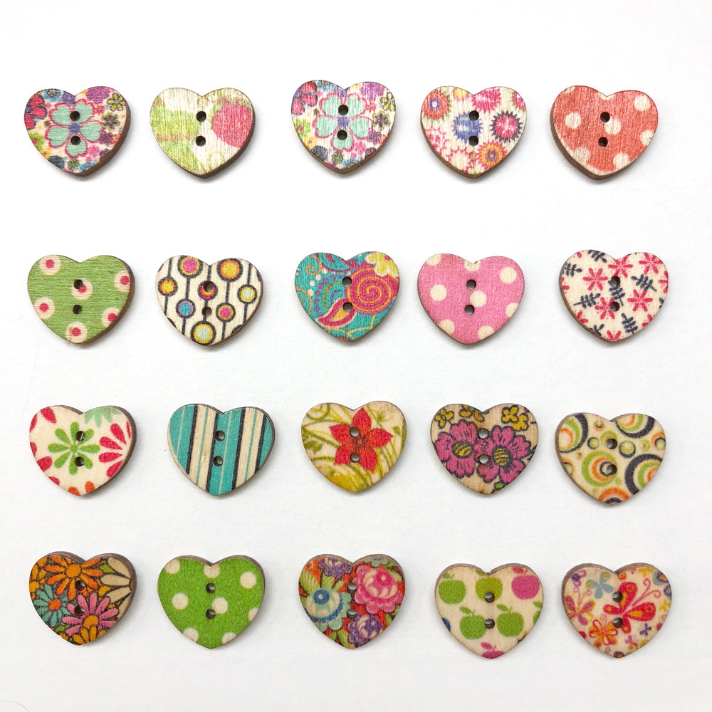 Wooden Heart Buttons Mixed 15mm : Pack of 20