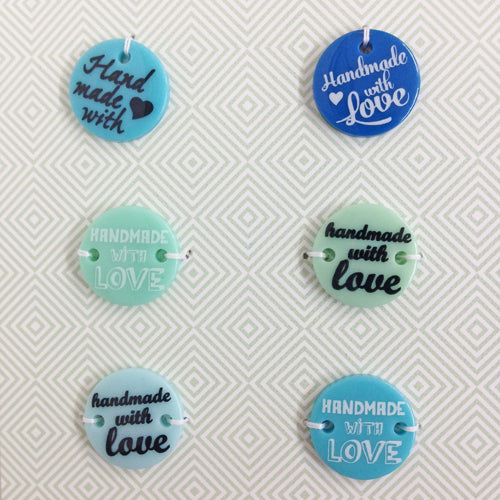 Blue 'Handmade with Love' button charms x 6
