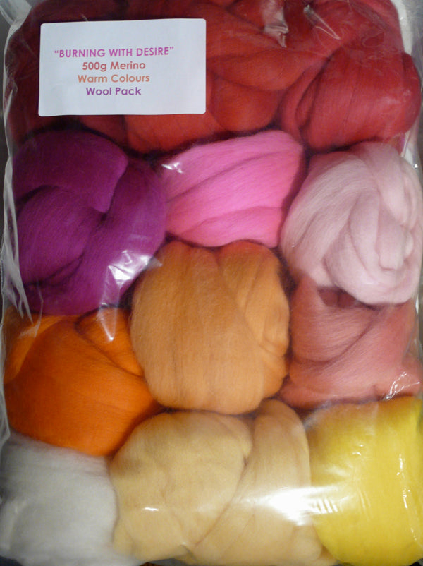 Merino Wool Tops 500g Burning with Desire Warm Colour