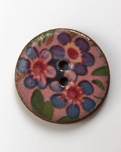 Handmade Ceramic Button Floral Round Small 6072