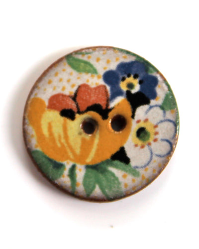 Handmade Ceramic Button Floral Round Small 6114