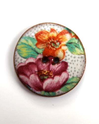 Handmade Ceramic Button Floral Round Medium 6338
