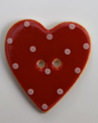 Handmade Ceramic Button Spotty Heart Large 1314