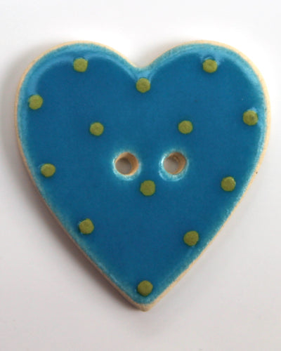 Handmade Ceramic Button Spotty Heart Large 1322
