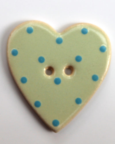 Handmade Ceramic Button Spotty Heart Large 1452