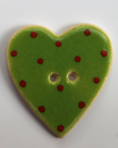 Handmade Ceramic Button Spotty Heart Large 1513