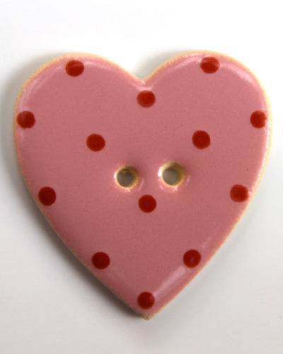 Handmade Ceramic Button Spotty Heart Large 1597