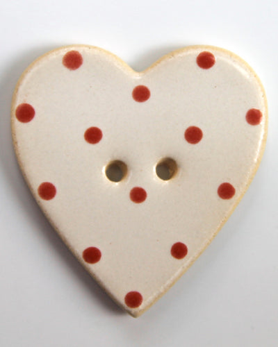 Handmade Ceramic Button Spotty Heart Large 1653