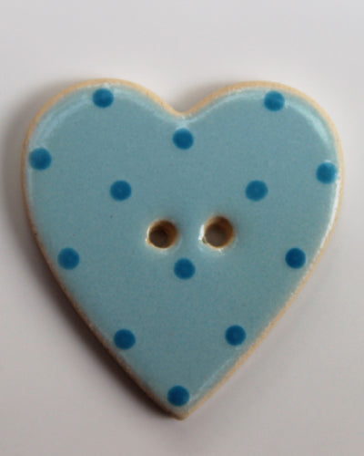 Handmade Ceramic Button Spotty Heart Large 1655