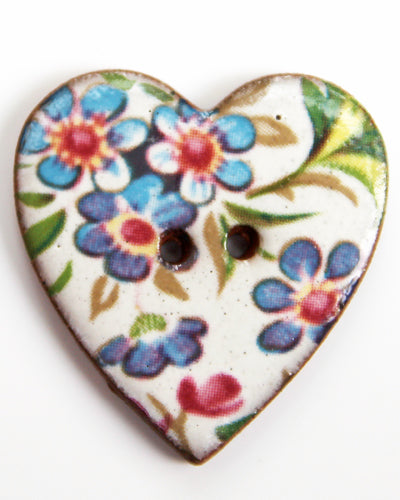 Handmade Ceramic Button Floral Heart Large 6026
