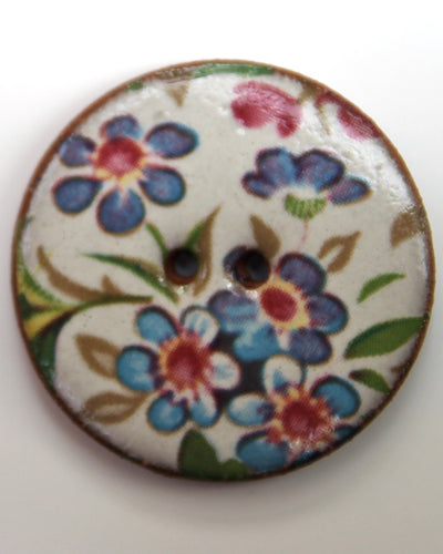 Handmade Ceramic Button Floral Round Large 6046