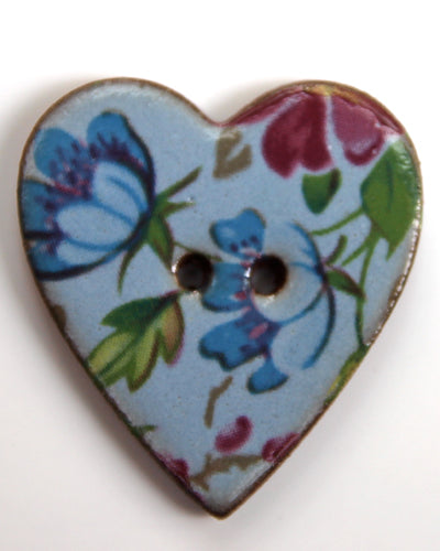 Handmade Ceramic Button Floral Heart Large 6059