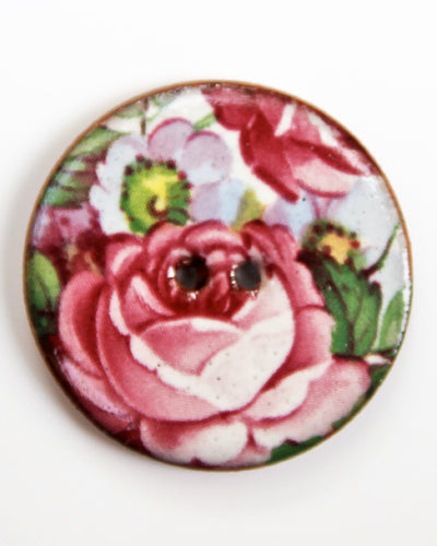 Handmade Ceramic Button Floral Round Large 6403