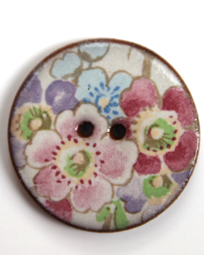 Handmade Ceramic Button Floral Round Large 6128