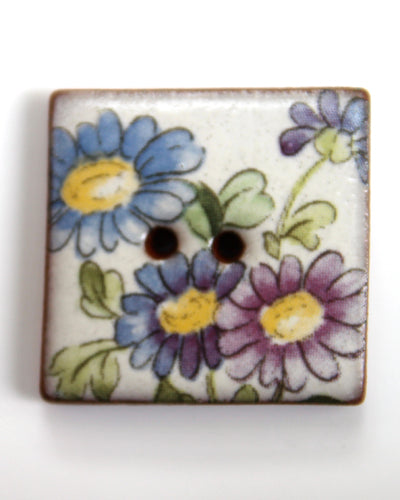 Handmade Ceramic Button Floral Square 6142