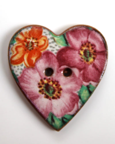 Handmade Ceramic Button Floral Heart Large 6171