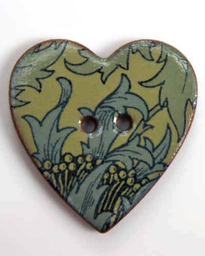 Handmade Ceramic Button Floral Heart Large 6182