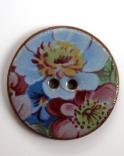 Handmade Ceramic Button Floral Round Large 6333