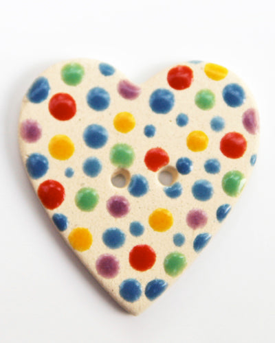 Handmade Ceramic Button Spotty Heart Large 683