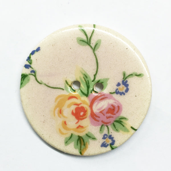 Handmade Ceramic Floral Round Button 6828