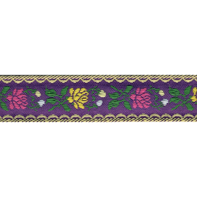 Flower Jacquard Ribbon 23mm 90 Purple