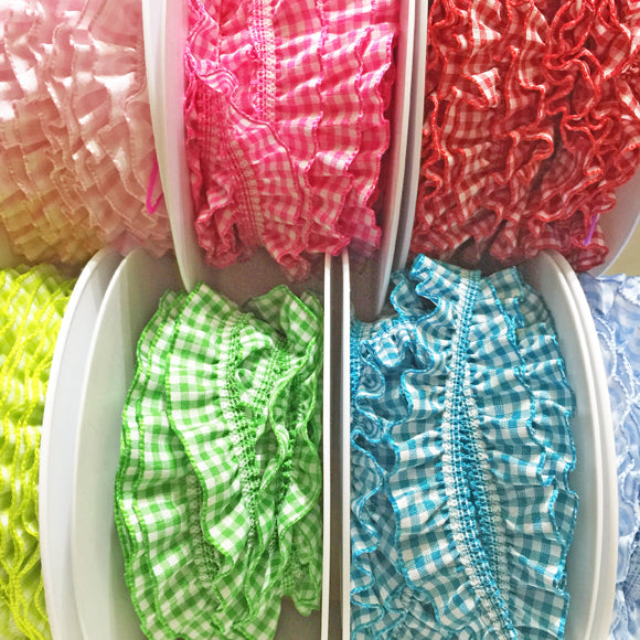 Gathered Gingham Elastic Trim 20mm 16 lime