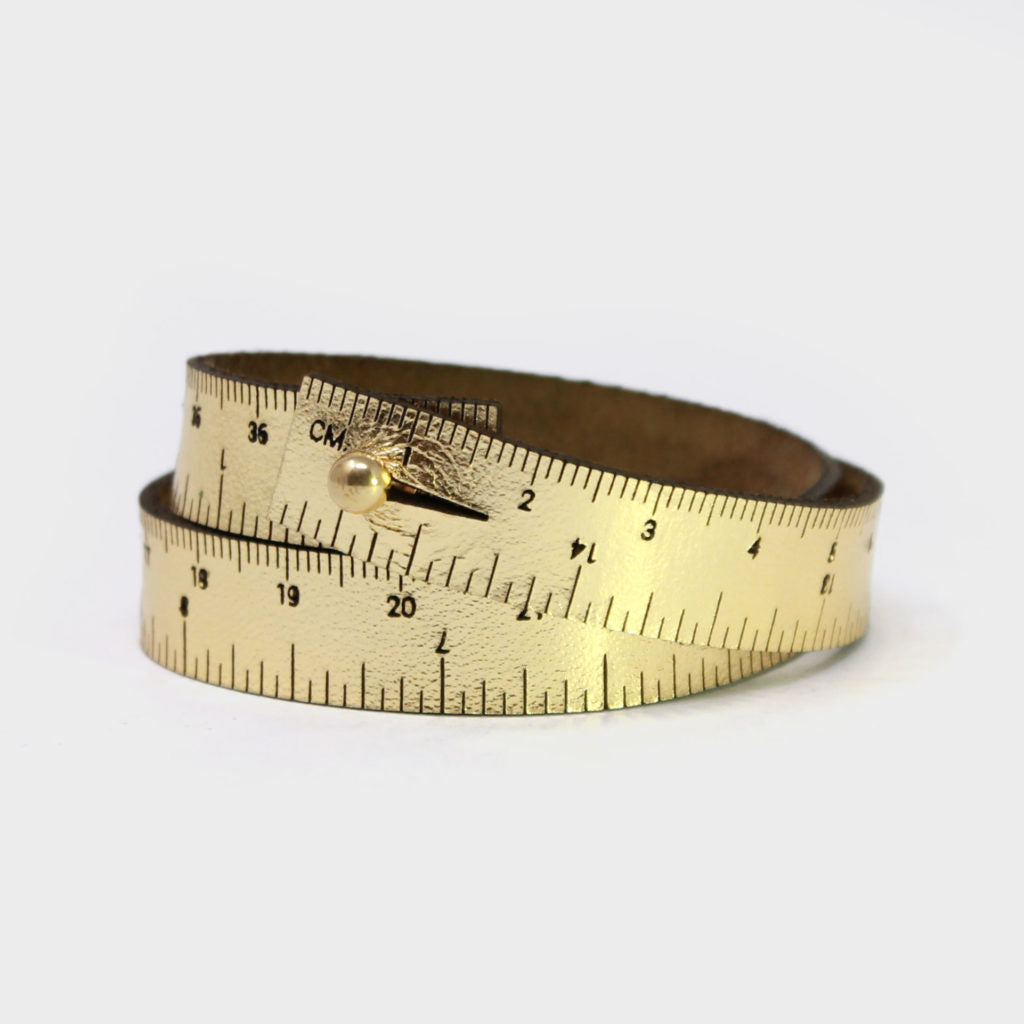 Leather Wrist Ruler Bracelet Metallic Gold 16""
