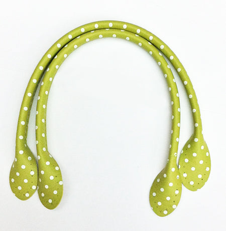 Green polka dot bag handles 30cm