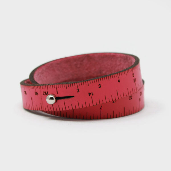 Leather Wrist Ruler Bracelet Medium Hot Pink 16""