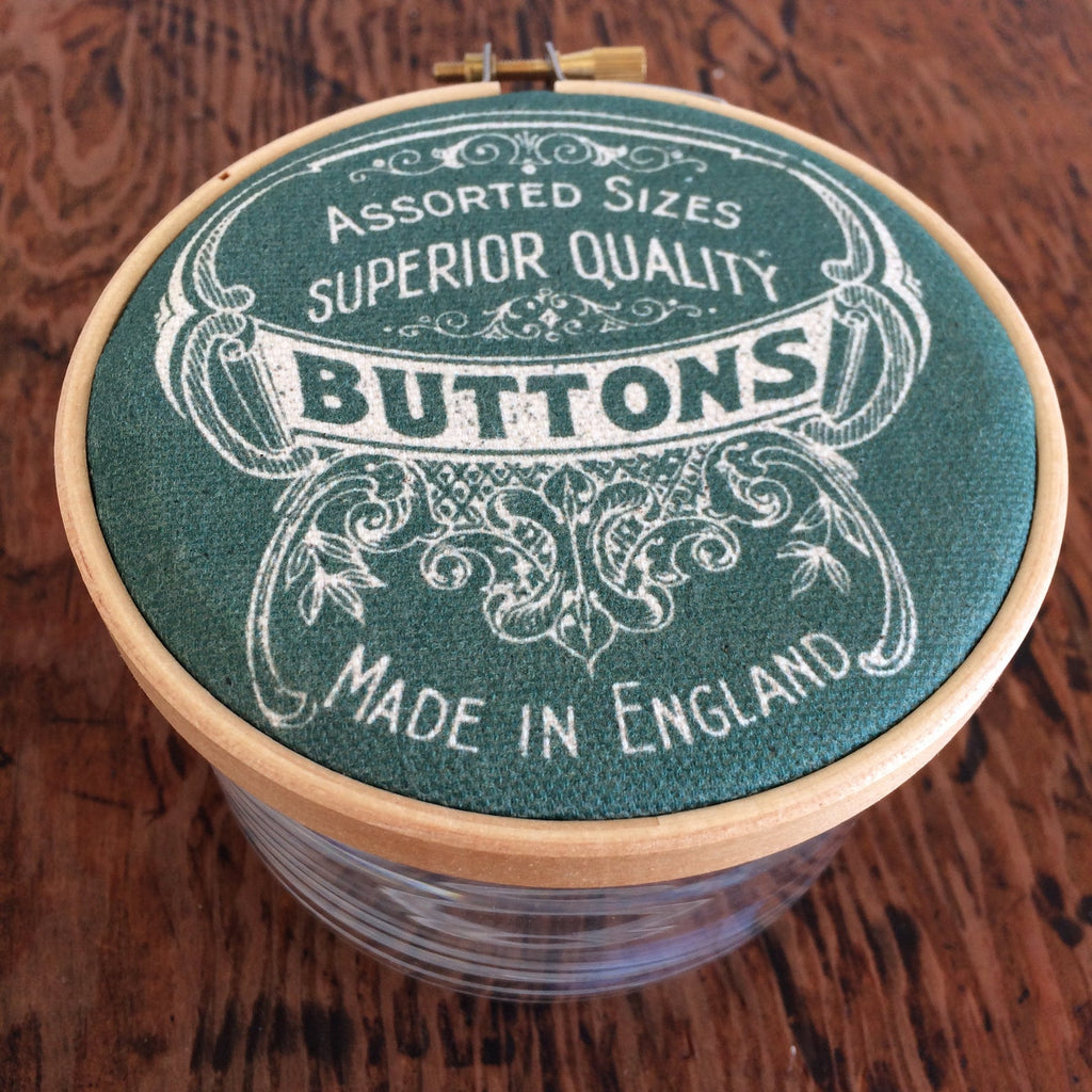 "Button Jar "" Made in England "" : Green"