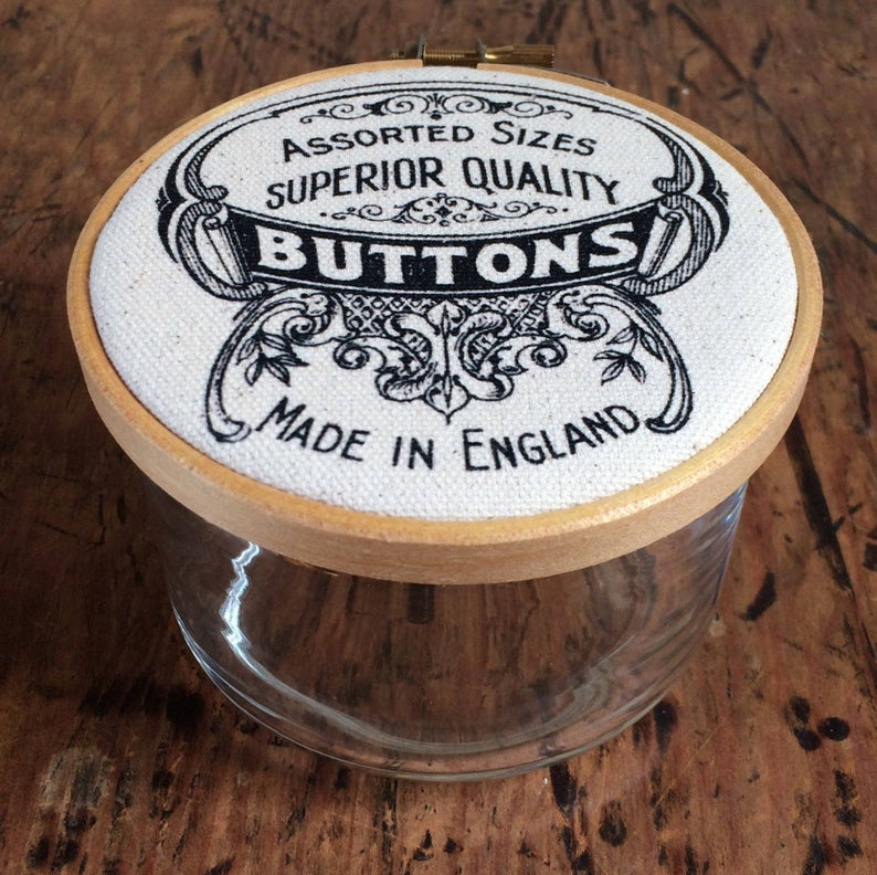 "Button Jar "" Made in England "" : Black & White"