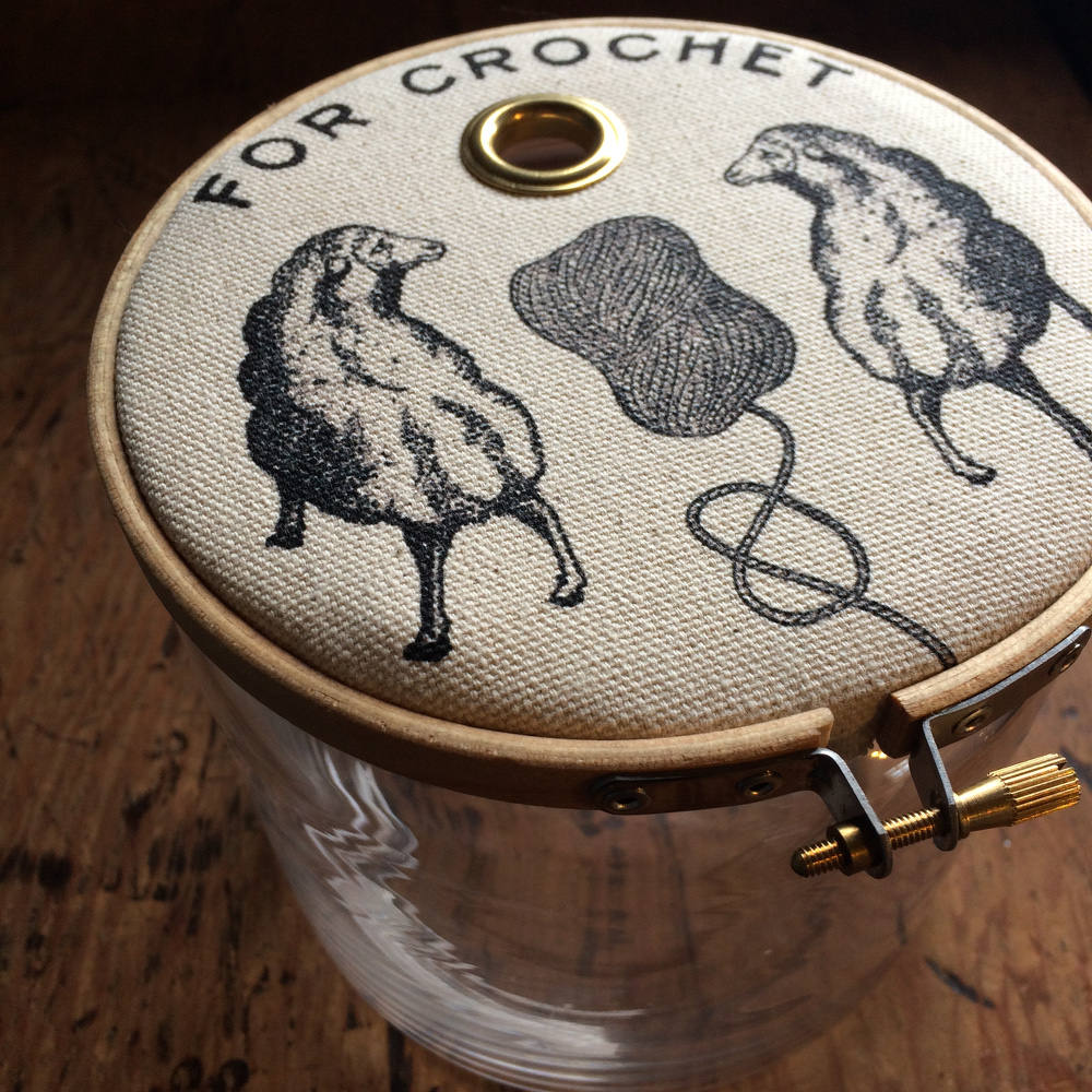 "Glass Jar Yarn Dispenser : ""For Crochet"" with Sheep"