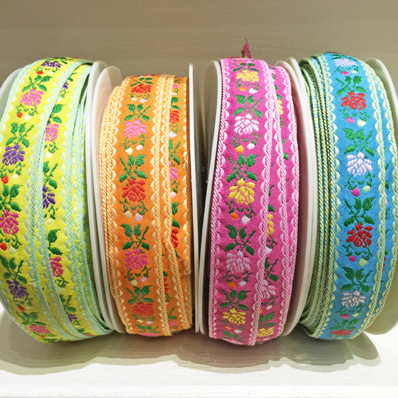 Flower Jacquard Ribbon 23mm 74 pink