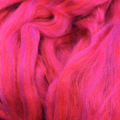Merino Wool/Tussah Silk Blended Wool Tops Red/Pink