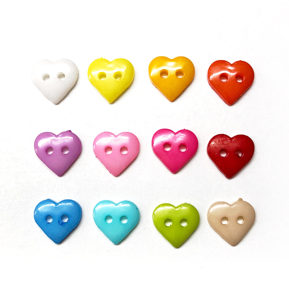Heart Buttons Plastic 10mm Mixed Colours : Pack of 20