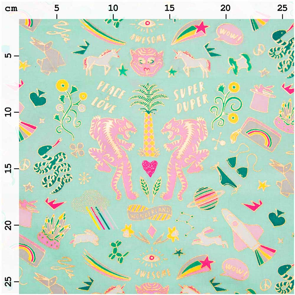 Mint Wonderland Hot Foil Oilcloth Fabric by the metre