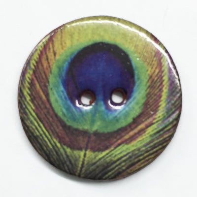 Handmade Ceramic Peacock Button