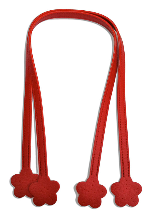 Red Handbag Handles with Flower Ends 60cm