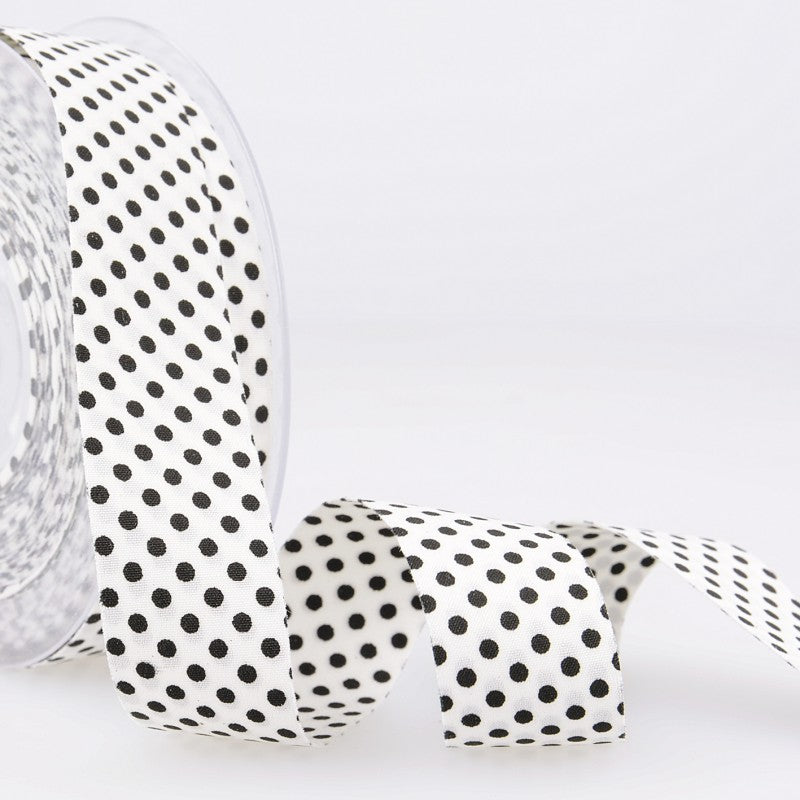 Dotty double sided Polka Dot Ribbon 25mm Black and White