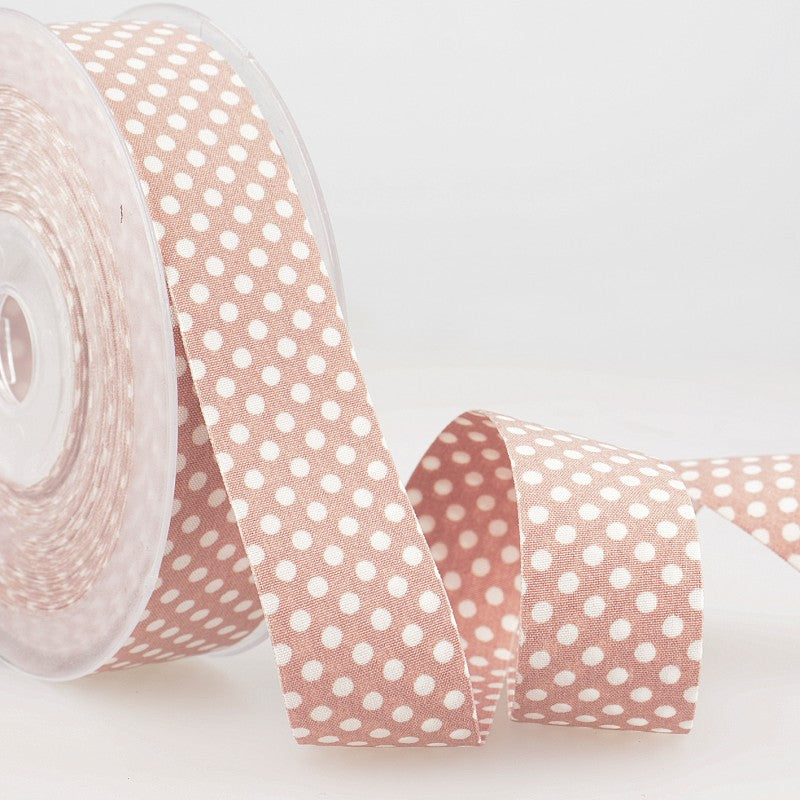 Dotty double sided Polka Dot Ribbon 25mm Vintage Pink