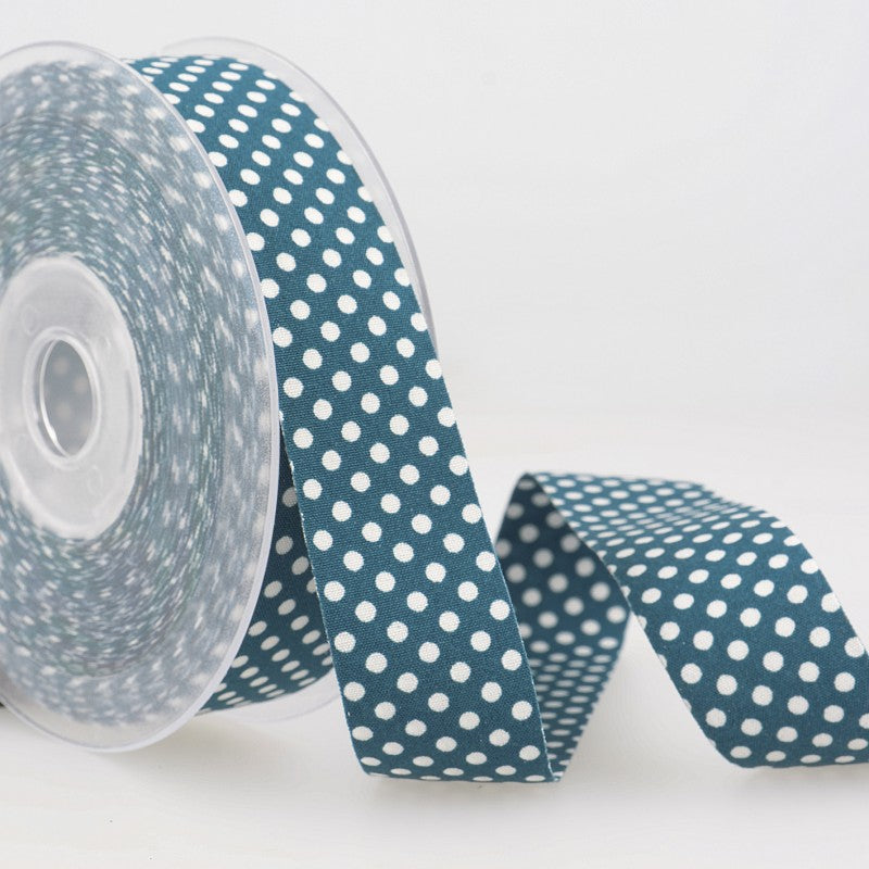 Dotty double sided Polka Dot Ribbon 25mm Teal