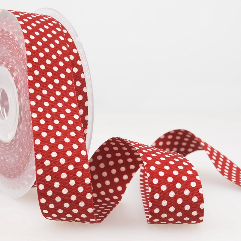 Dotty double sided Polka Dot Ribbon 25mm Cherry Red