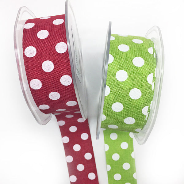 38mm Polka Dot Rustic Ribbon Green 16 per metre
