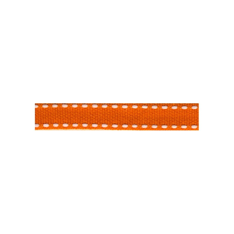 12mm Tiret ribbon 194 orange with white stitch