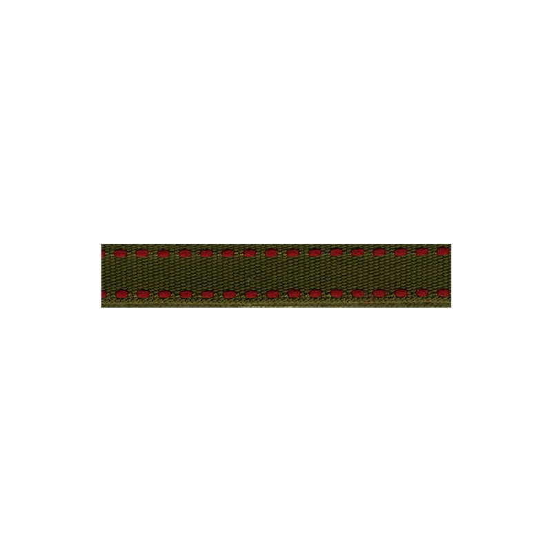 12mm Tiret ribbon 153 olive with red stitch
