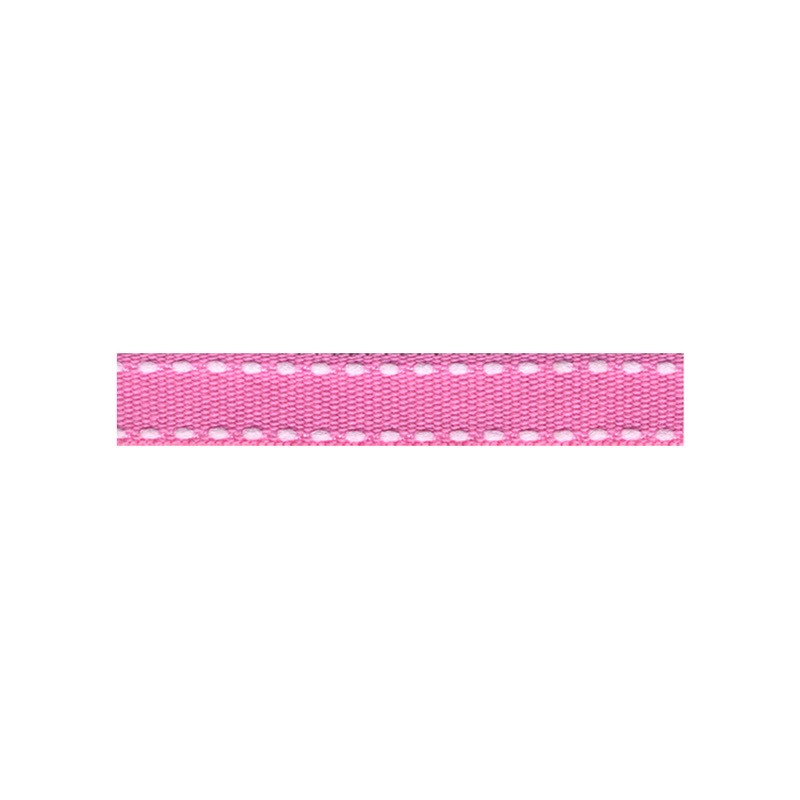 12mm Tiret ribbon 176 candy pink with white stitch