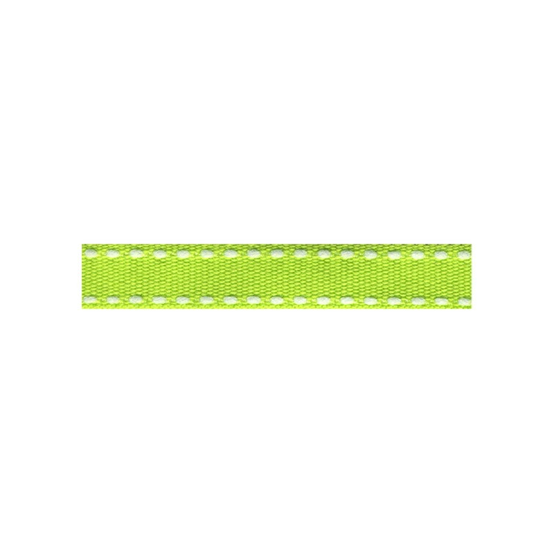 12mm Tiret ribbon 116 lime with white stitch