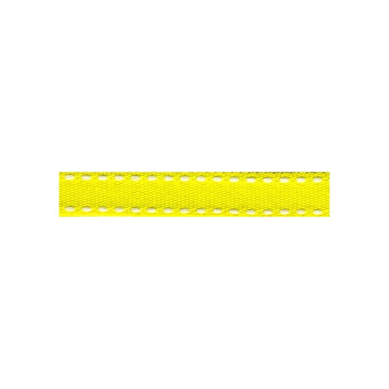 12mm Tiret ribbon 181 yellow with white stitch
