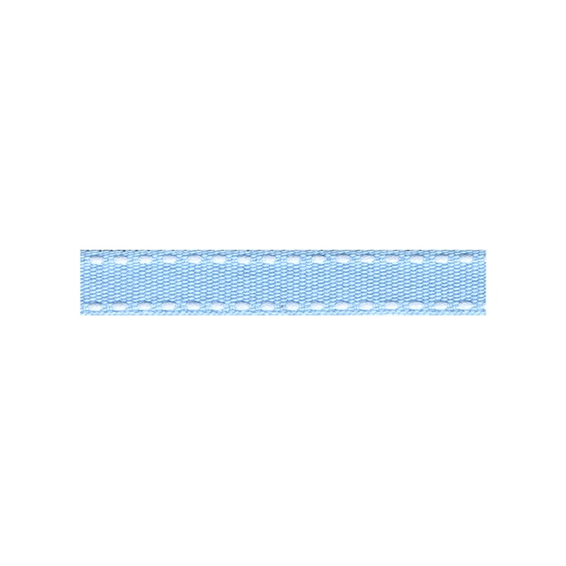 12mm Tiret ribbon 103 pale blue with white stitch