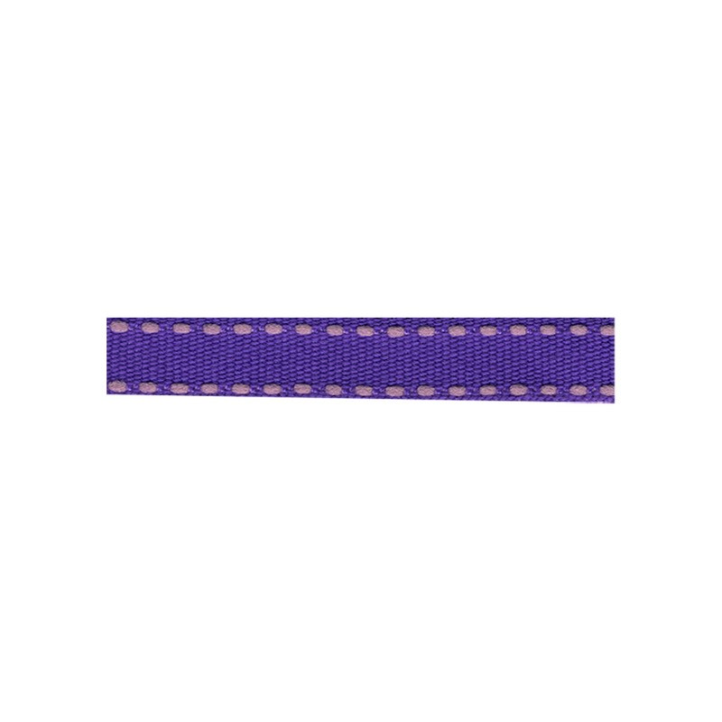 12mm Tiret ribbon 190 purple with pink stitch